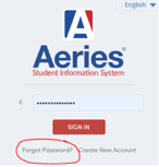 Aeries login screen image indicating Forgot Password option
