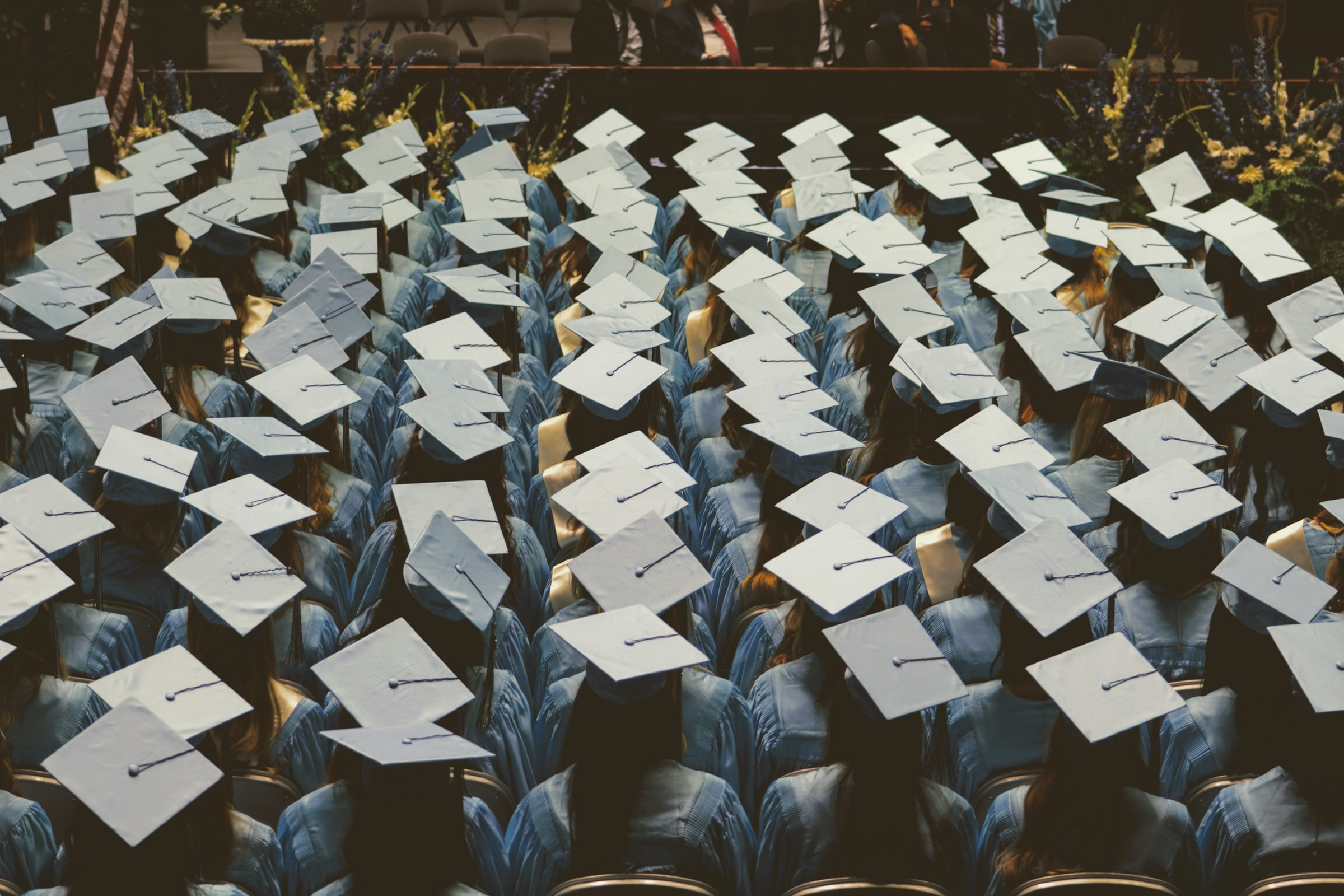 Graduating class in caps and gowns