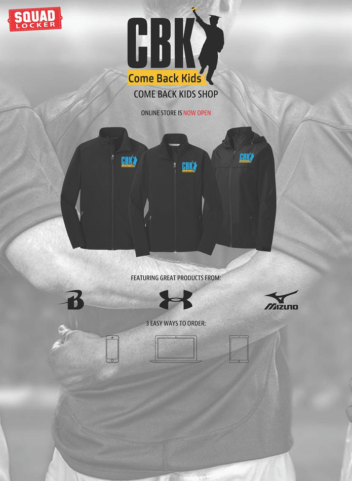 Come Back Kids Shop online store is now open.  Featuring great products from UnderArmer, and Mizuno