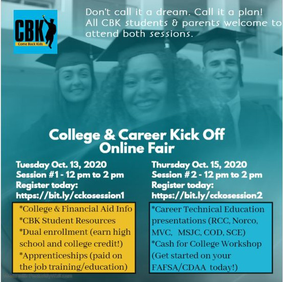 College and Career Kick Off Online Fair Flyer