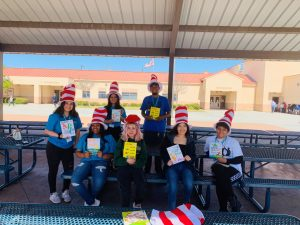 "CBK students with Dr. Suess ""Cat in the Hat"" hats"
